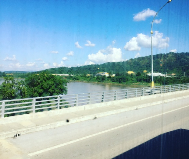a bridge between two nations literally. That's Laos to the right and Thailand on your left